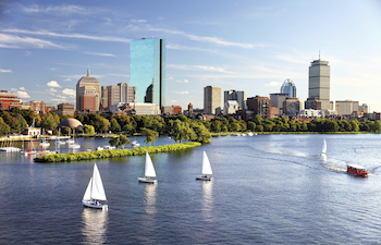 View of Boston from Cambridge and Charles river