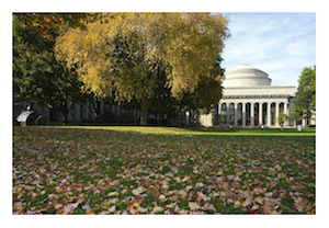 MIT Killian Court and dome leaves on the ground