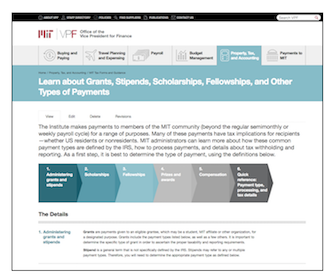 vpf website page on payment types